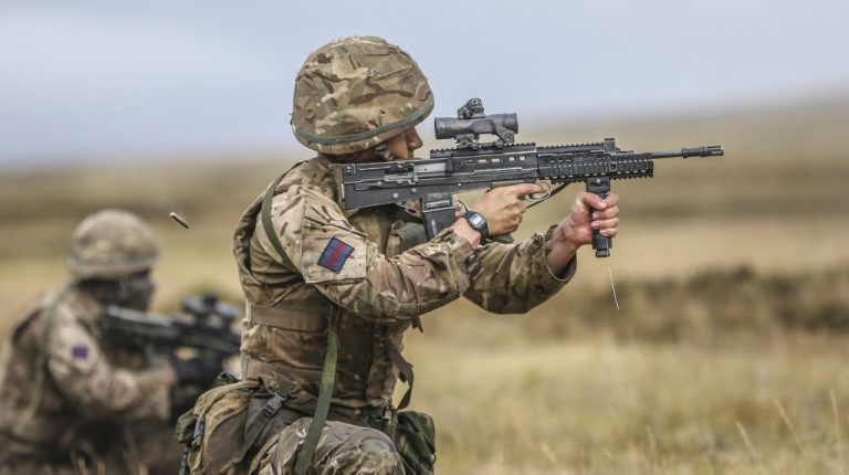 Soldiers from The Household Division firing L85A2s during a live fire exercise in the Falklands. (British Army/MOD)