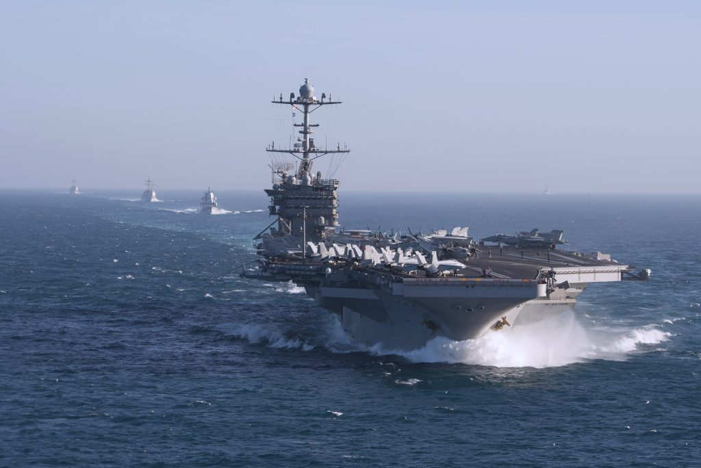 USS Harry S. Truman (CVN 75) and ships assigned to the Harry S. Truman Carrier Strike Group (HSTCSG) transit the Atlantic Ocean while conducting composite training unit exercise (COMPTUEX). Truman is underway for COMPTUEX, which evaluates the strike group's ability as a whole to carry out sustained combat operations from the sea, ultimately certifying the Harry S. Truman Carrier Strike Group for deployment. (U.S. Navy photo by Mass Communication Specialist 2nd Class Scott Swofford/Released)