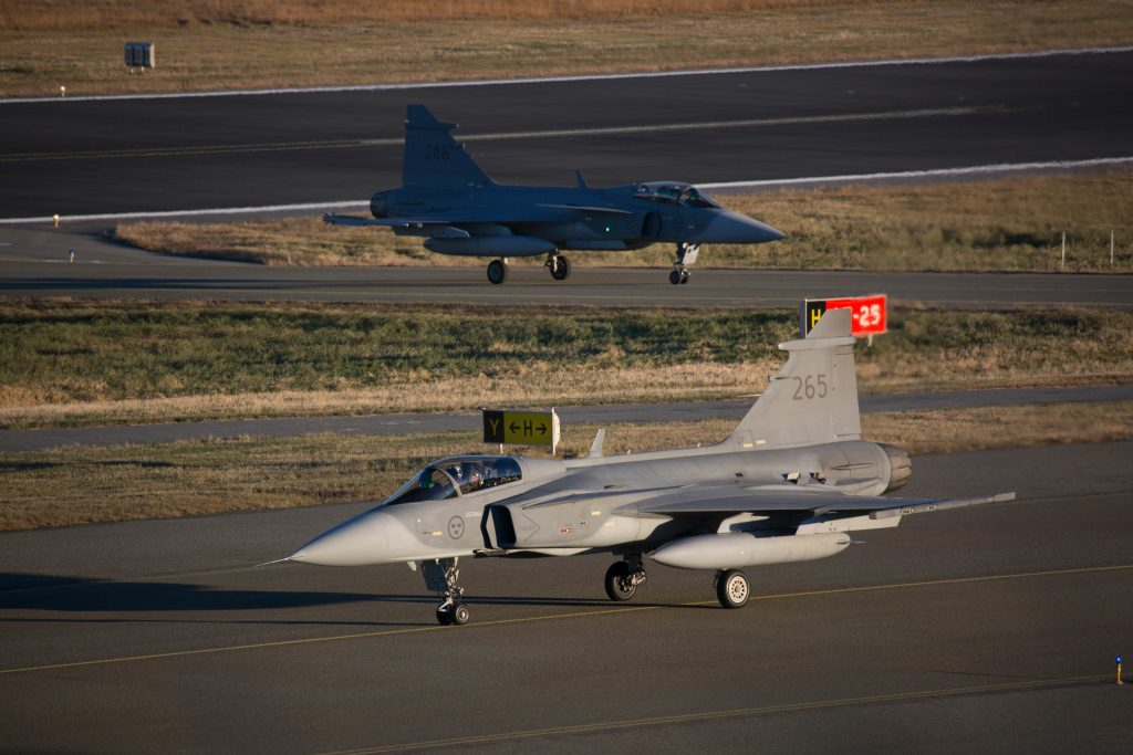 Two Saab Gripen C/D, contender in the program, taxiing at Bodø Air Base in Norway during exercise Trident Juncture 2018. (OR-8 Sebastien Raffin)