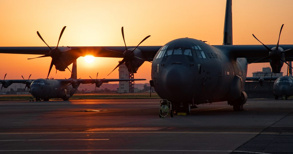 The sun rises over the 374th Airlift Wing's C-130J Super Hercules aircraft on the Yokota Air Base flightline May 26, 2019. Japan is known as the land of the rising sun because it was originally considered the easternmost country before discovery of North America, but with a 4:30 a.m. sunrise, the moniker still holds true today.