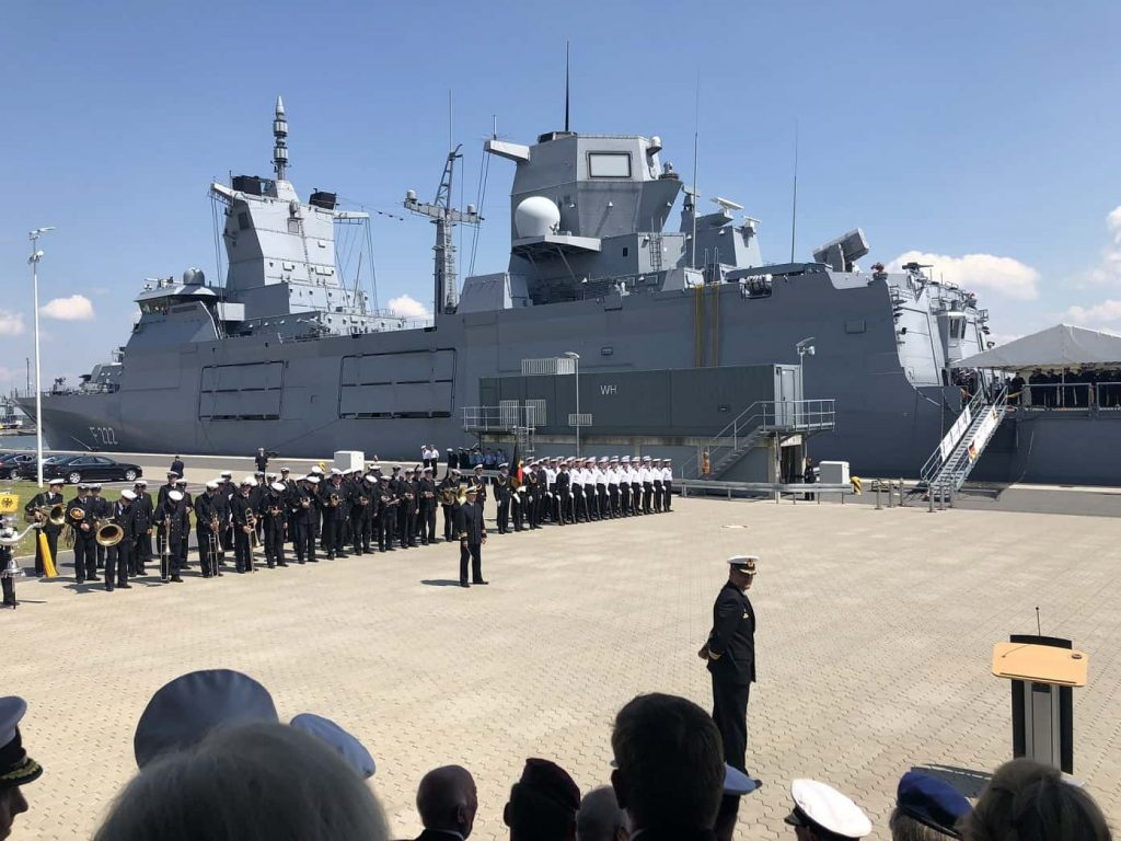 German Navy's F125 frigate Baden-Württemberg F222 at its commissioning ceremony. (Photo credit: German Navy)