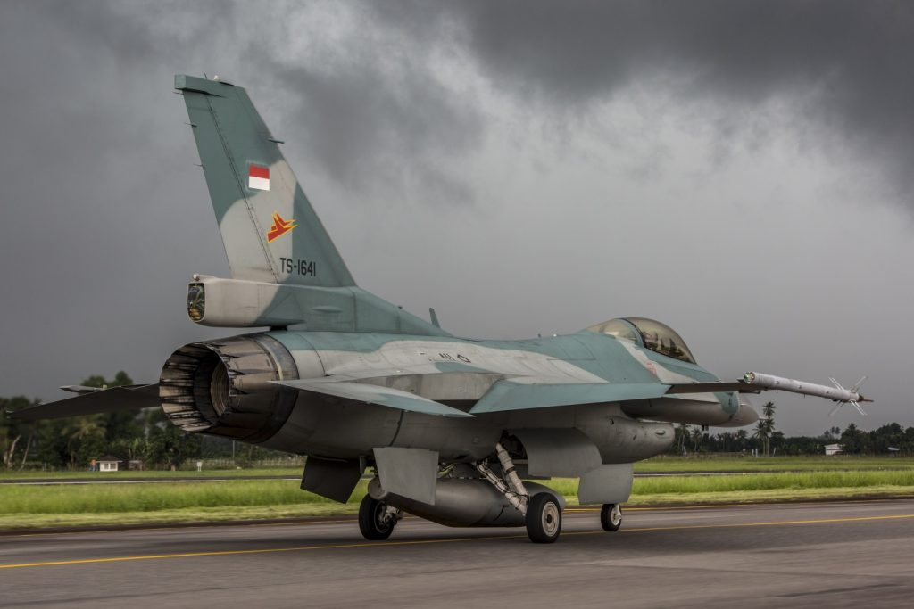 Indonesian Air Force F-16 taxis during exercise Cope West 17 (US Marine Corps photo by Cpl. Aaron Henson)