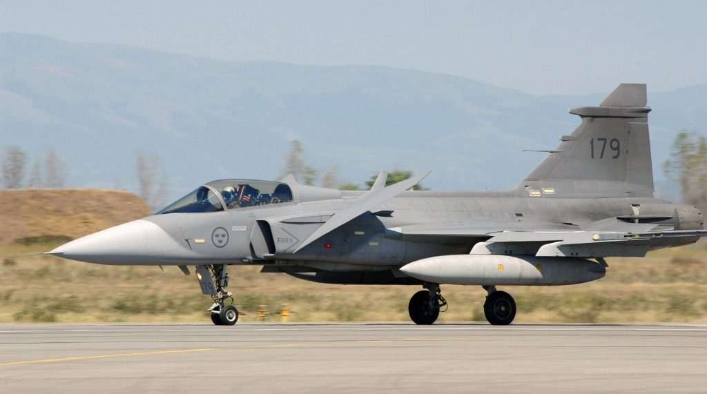 Swedish Air Force JAS-39 Gripen landing at Graf Ignatievo Air Base in Bulgaria in support of the Partnership for Peace Exercise Cooperative Key 2003 (photo by Harald Hansen, U.S. Air Force)