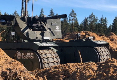 Milrem THeMIS UGV with FN Herstal deFNder RWS during exercise Spring Storm 2019 in Estonia (Source: Milrem press release)
