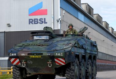 Boxer armored fighting vehicle in front of the newly rebranded RBSL building (photo courtesy of BAE Systems)