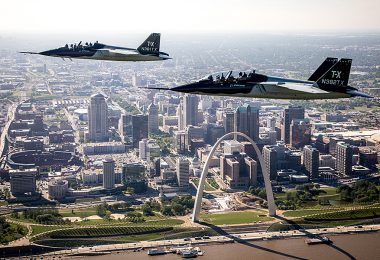 A pair of Boeing T-X prototype aircraft in-flight over St. Louis (photo courtesy of Boeing)