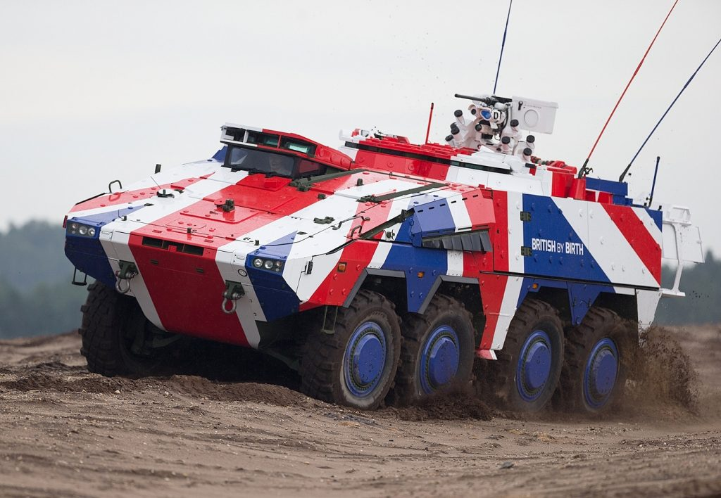 Boxer vehicle painted like the UK flag in a bid for the British Army (photo courtesy of Rheinmetall)
