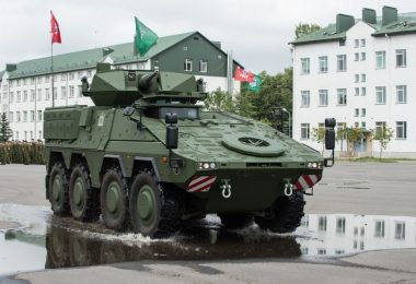A Boxer armored vehicle at its acceptance ceremony in Lithuania in June 2019 (photo courtesy of the Lithuanian Ministry of National Defense)