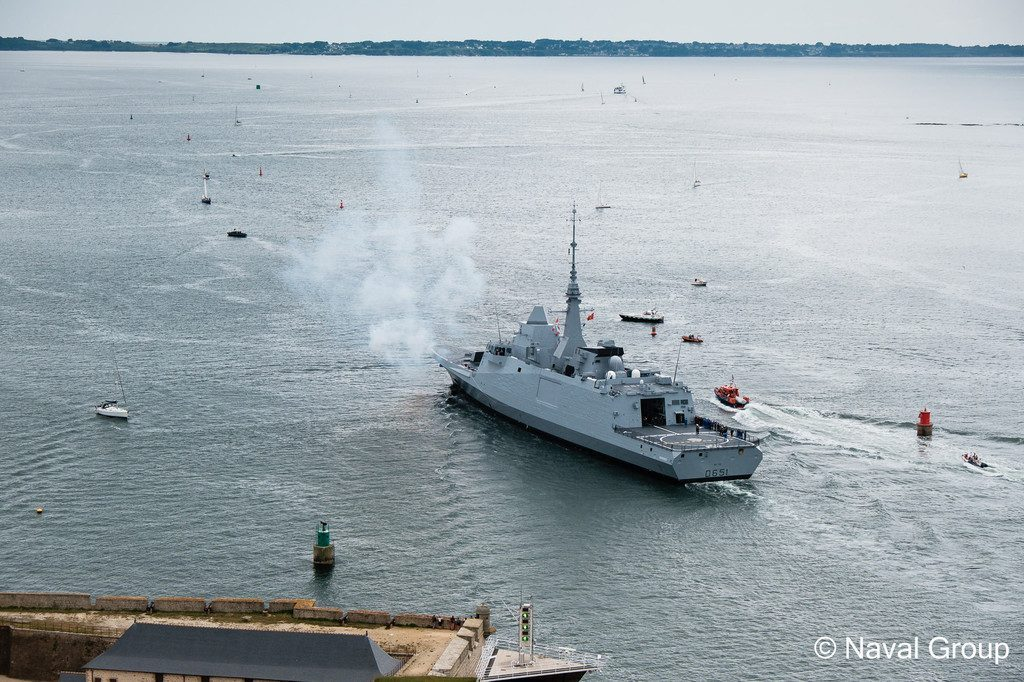 The French Navy's FREMM Frigate Normandie firing its cannon at its acceptance ceremony in July 2019 (photo courtesy of Naval Group)