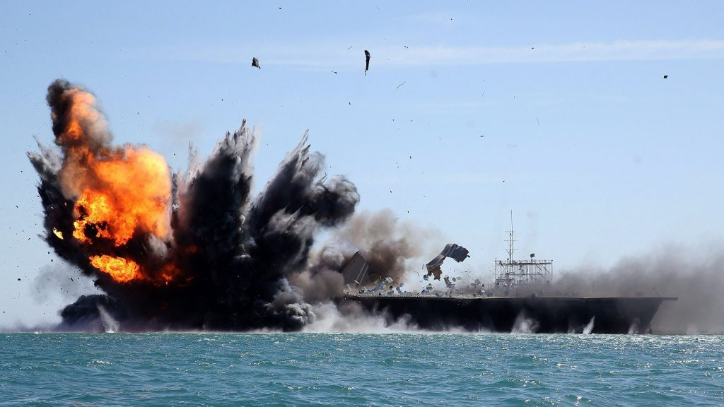 Iran Launches Mock Ballistic Missile Attack Against Fake Aircraft Carrier in Strait of Hormuz