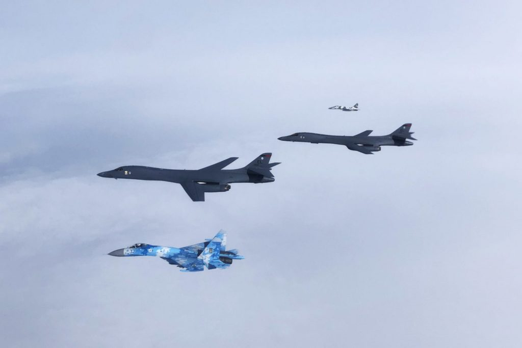 Russian Su-35 Fighters Scrambled to Intercept US B-1B Bombers Over the Sea of Okhotsk